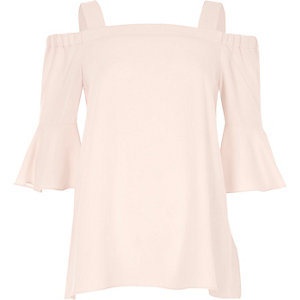 Pink bell sleeve bardot top