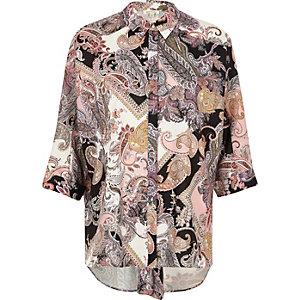 Pink paisley knot back shirt