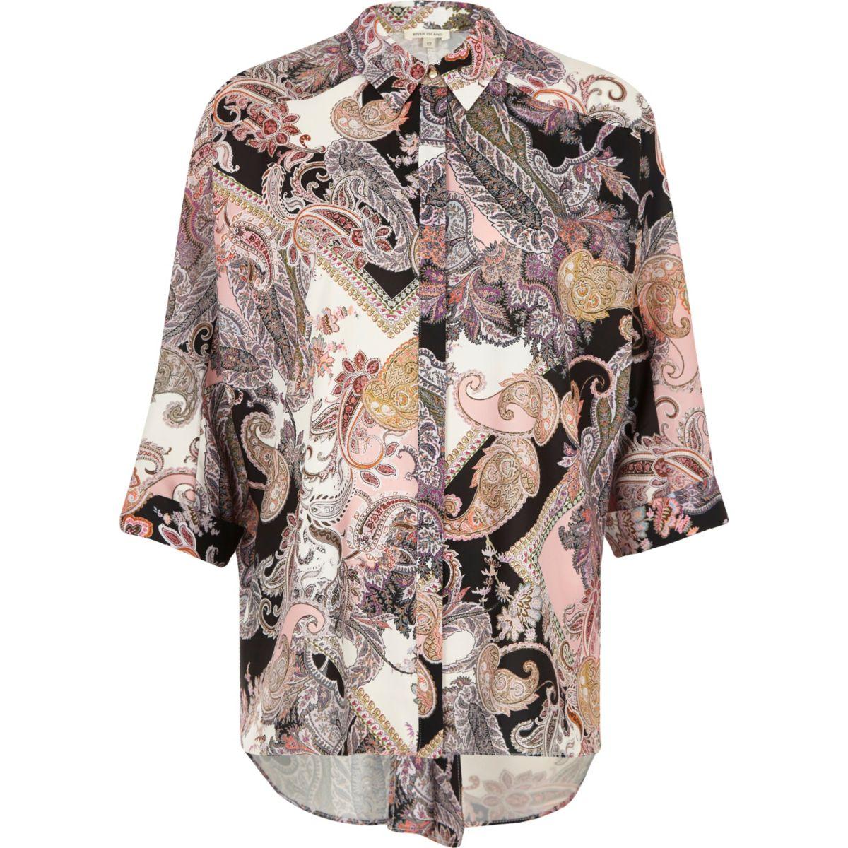 Pinkes Hemd mit Paisley-Muster