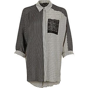 Cream contrast stripe print longline shirt