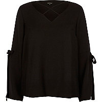 Black cross front split sleeve blouse
