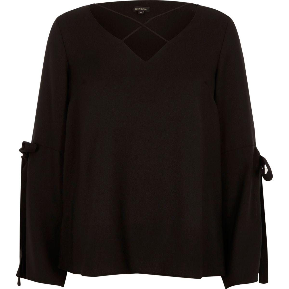 Black cross front split sleeve blouse