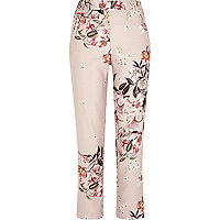 Pink floral print tapered trousers