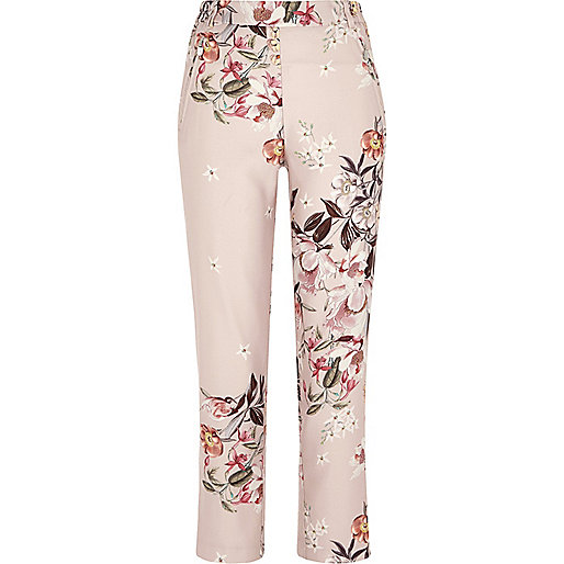 Pink floral print tapered pants