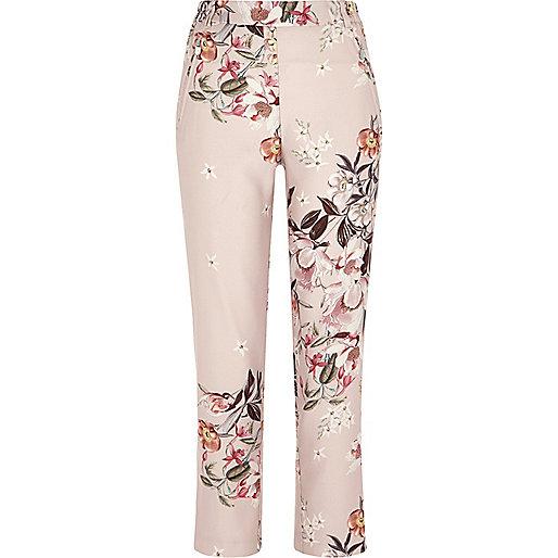 Pantalon à imprimé à fleurs rose fuselé