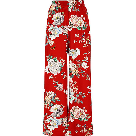 Red floral wide leg high waisted pants
