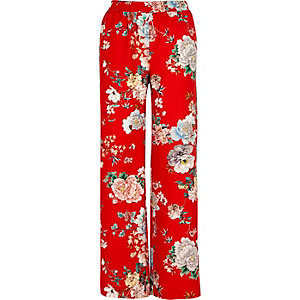 Red floral print wide leg pants