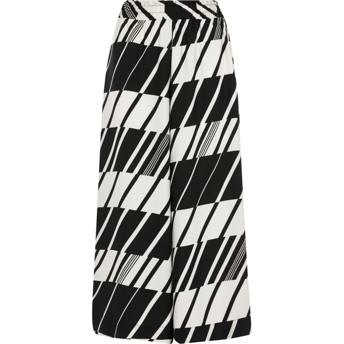 Black and white geo wide leg cropped culottes