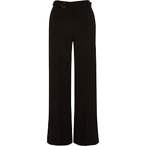 Black soft waist tie wide leg trousers