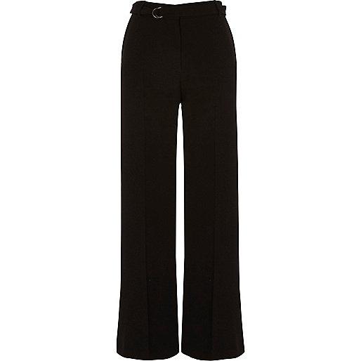 Black soft waist tie wide leg trousers