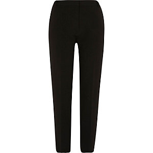 Black slim fit tapered trousers