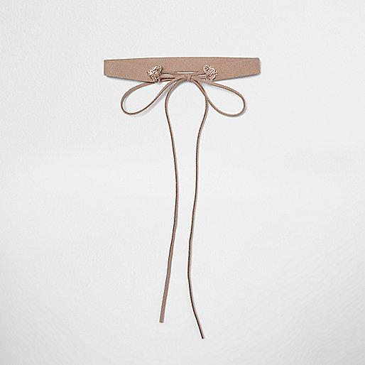 Ras-de-cou rose poudré avec nœud façon mini corset