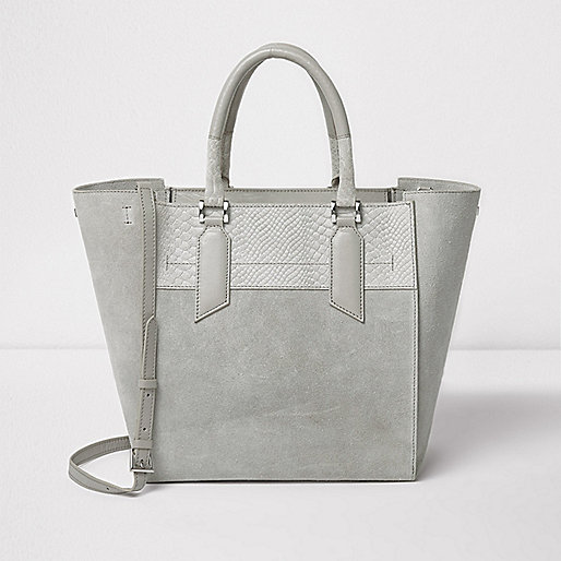 Grey suede leather winged tote bag
