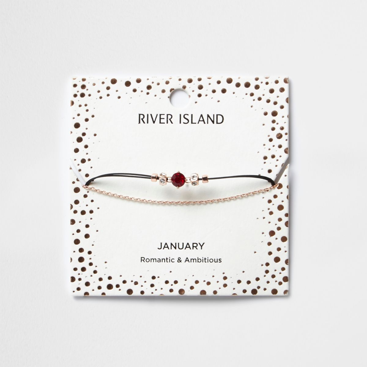 Red January birthstone chain bracelet