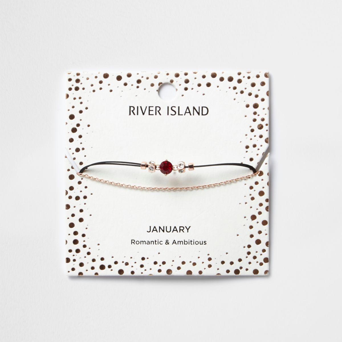 Red January birthstone chain bracelet