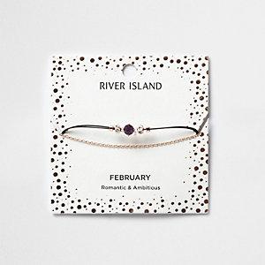 Bracelet chaîne avec pierre de naissance violette mois de février