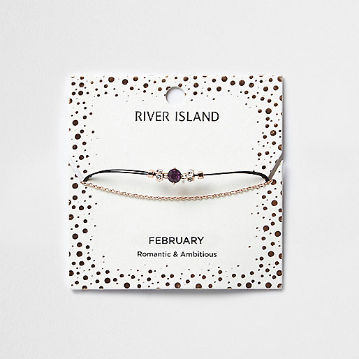 Purple February birthstone chain bracelet