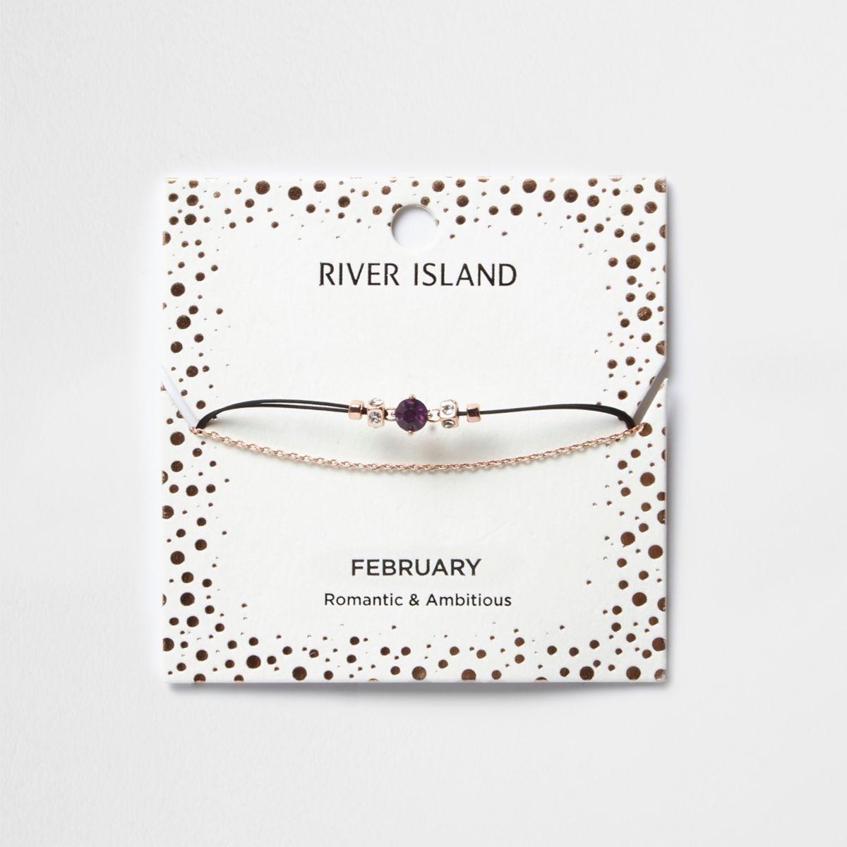 Purple February birthstone chain bracelet