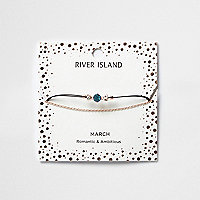 Blue March birthstone chain bracelet