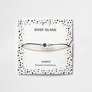 Bracelet chaîne avec pierre de naissance bleue mois de mars