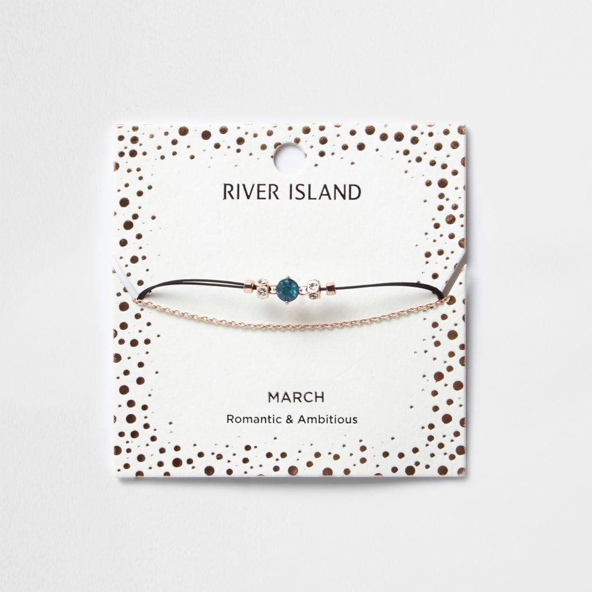 Blue March birthstone chain bracelet
