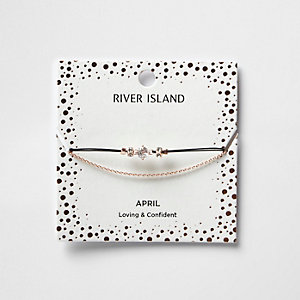 White April birthstone chain bracelet