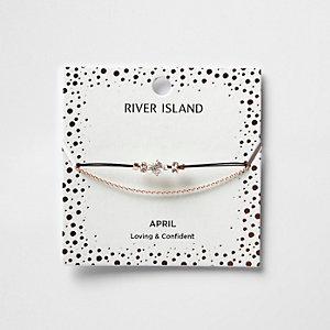 Bracelet chaîne avec pierre de naissance blanche mois d'avril