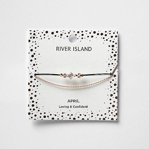 White April birthstone chain bracelet