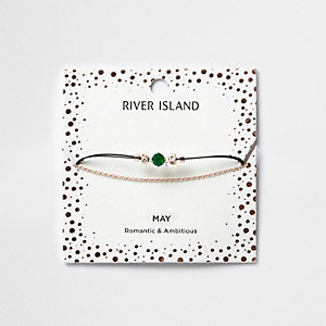 Green May birthstone chain bracelet