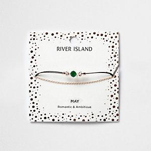 Bracelet chaîne avec pierre de naissance verte mois de mai