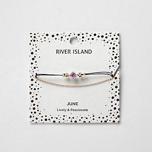 Bracelet chaîne avec pierre de naissance violette mois de juin