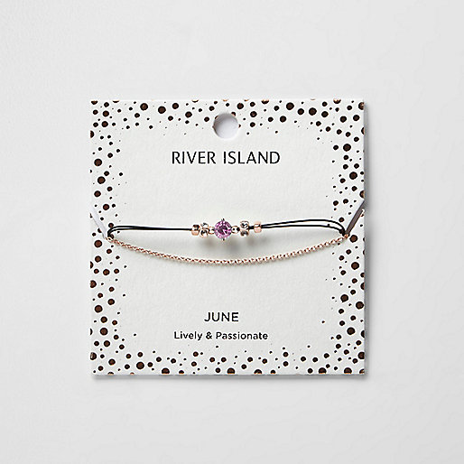 Purple June birthstone chain bracelet