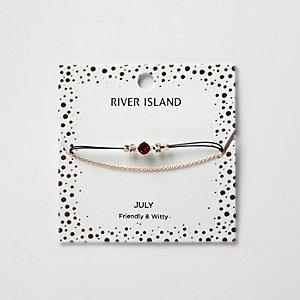 Bracelet chaîne avec pierre de naissance rouge mois de juillet