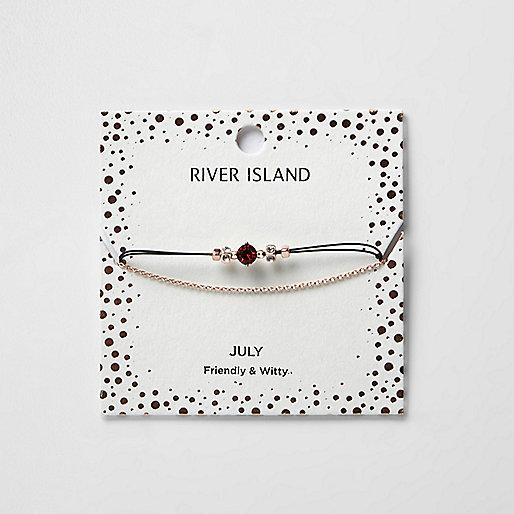 Red July birthstone chain bracelet