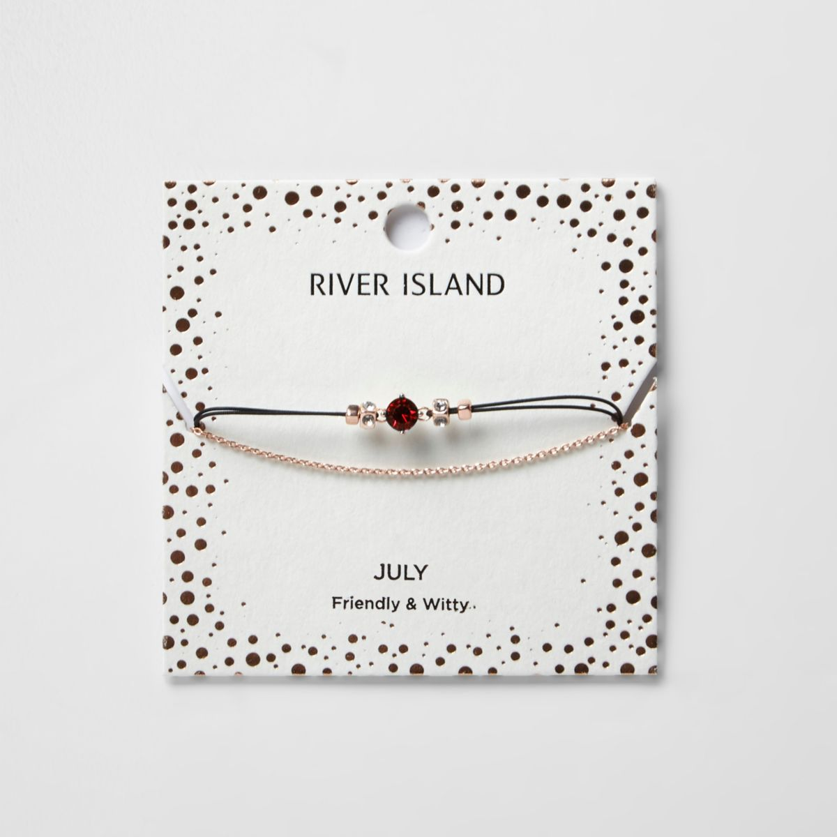 Red July birthstone chain bracelet