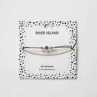 Bracelet chaîne avec pierre de naissance bleue mois de septembre