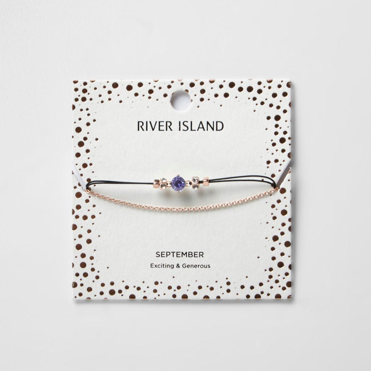 Blue September birthstone chain bracelet