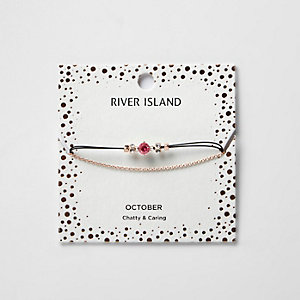 Bracelet chaîne avec pierre de naissance rose mois d'octobre