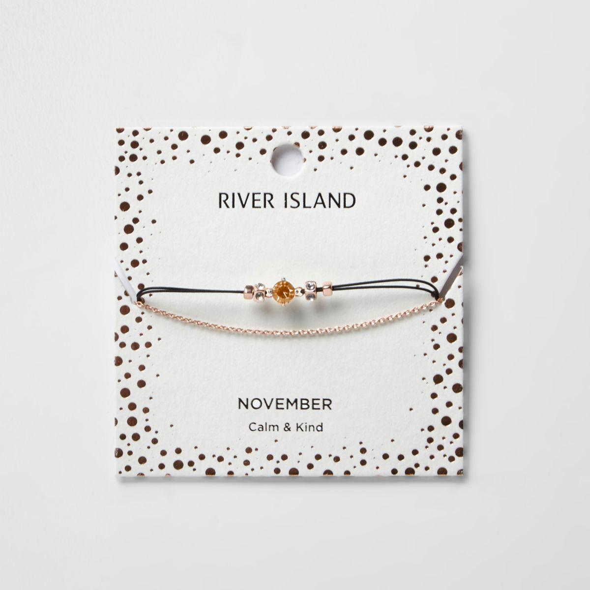 Orange November birthstone chain bracelet