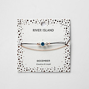 Blue December birthstone chain bracelet