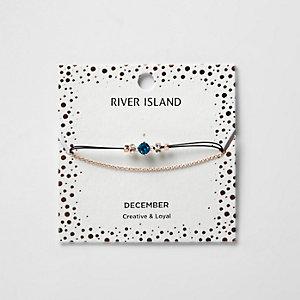 Bracelet chaîne avec pierre de naissance bleue mois de décembre