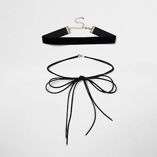 Lot de colliers ras-de-cou en velours et daim noir style cravate texane