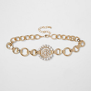 Gold tone diamante circle chain choker