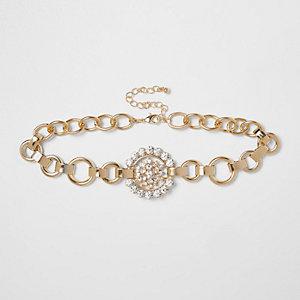 Gold tone rhinestone circle chain choker