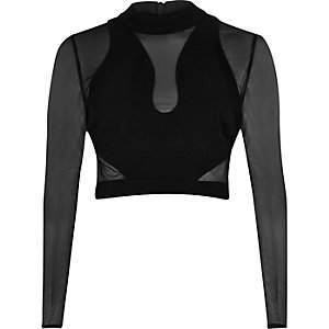 Black mesh turtle neck crop top