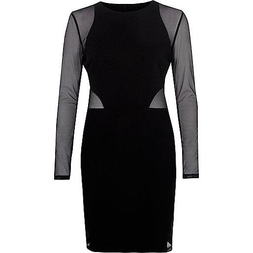 Black mesh bodycon mini dress