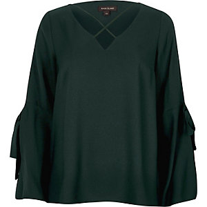 Dark green cross front split sleeve blouse