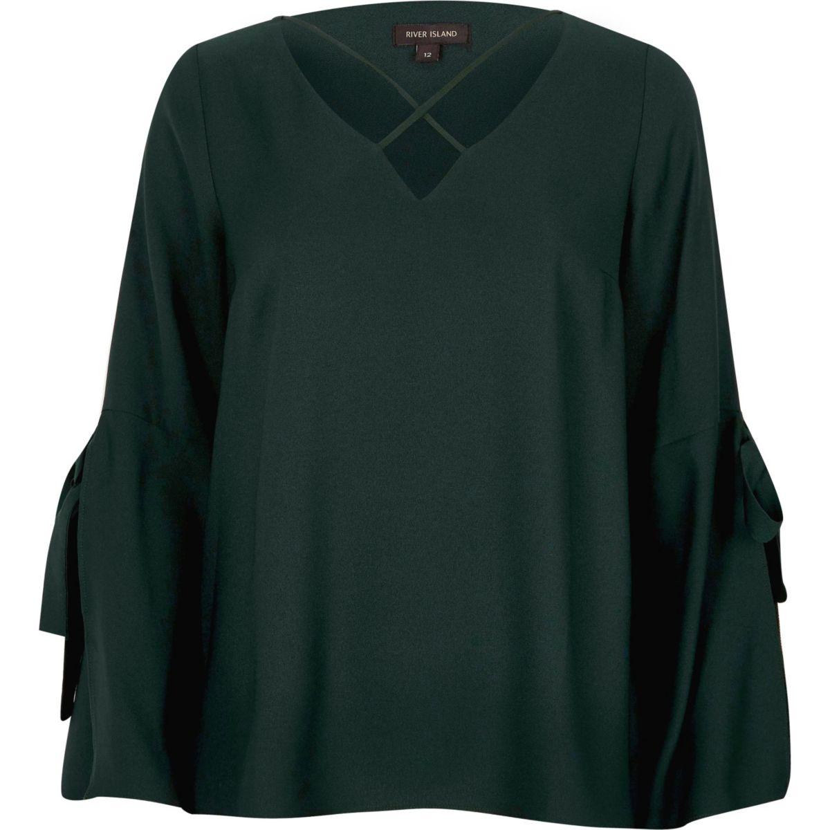 Dark green cross front split sleeve blouse