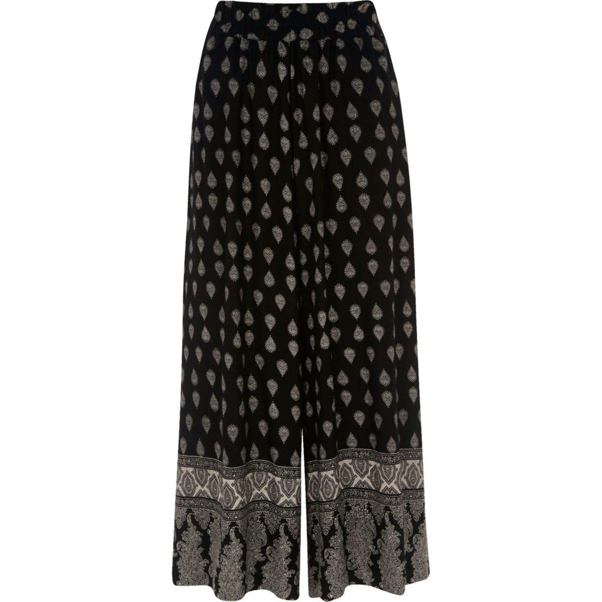 Jupe-culotte imprimé mosaïque noire