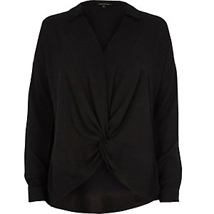 Black knot front blouse